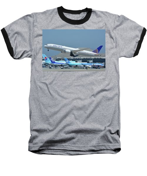 Baseball T-Shirt featuring the photograph United Boeing 787-9 N27965 Los Angeles International Airport May 3 2016 by Brian Lockett