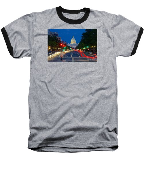 United States Capitol Along Pennsylvania Avenue In Washington, D.c.   Baseball T-Shirt