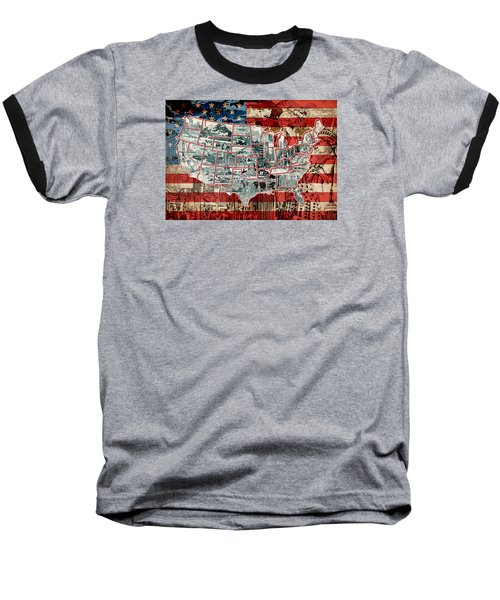 United States Drawing Collage Map 6 Baseball T-Shirt