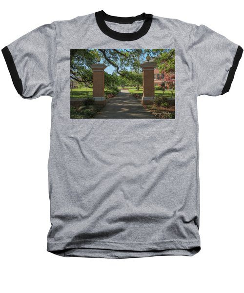 Baseball T-Shirt featuring the photograph University And Johnston Entrance by Gregory Daley  PPSA