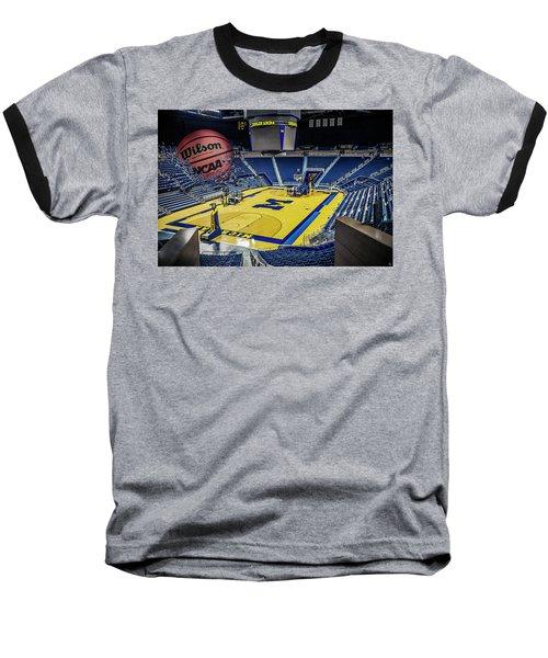Baseball T-Shirt featuring the digital art University Of Michigan Basketball by Nicholas Grunas