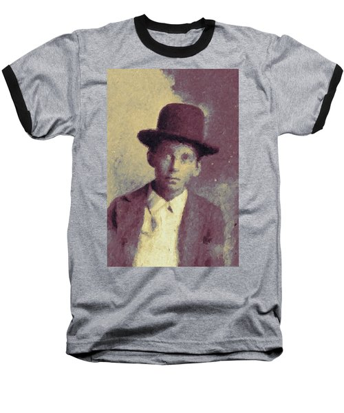 Baseball T-Shirt featuring the digital art Unknown Boy In A Bowler Hat by Matt Lindley