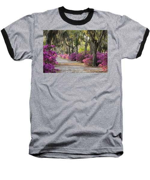 Unpaved Road With Azaleas And Oaks Baseball T-Shirt