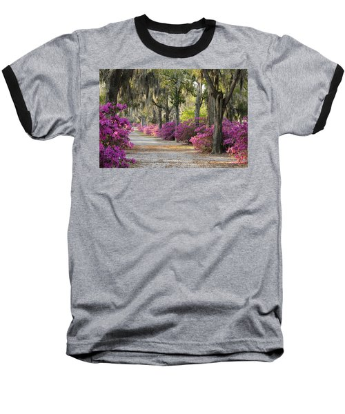 Unpaved Road With Azaleas And Oaks Baseball T-Shirt