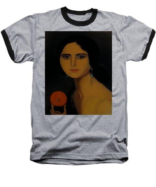 Untitled Woman With Orange Baseball T-Shirt