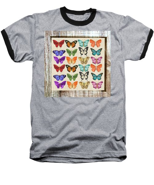 Unusual Colourful Butterfly Collage Baseball T-Shirt