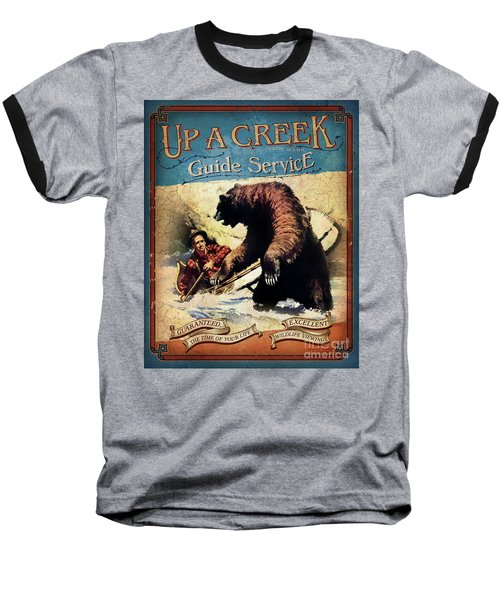 Baseball T-Shirt featuring the painting Up A Creek 2 by JQ Licensing