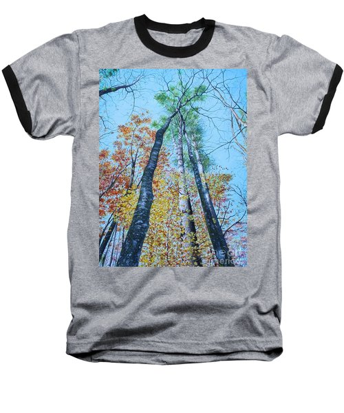 Baseball T-Shirt featuring the painting Up Into The Trees by Mike Ivey