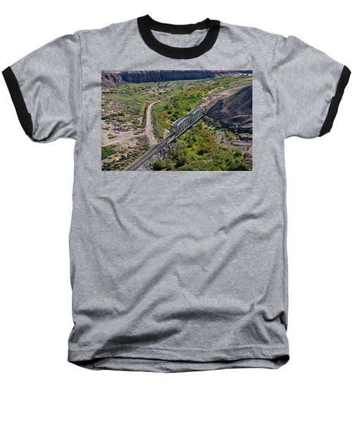 Baseball T-Shirt featuring the photograph Up Tracks Cross The Mojave River by Jim Thompson