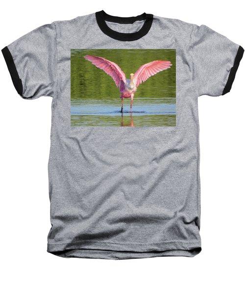 Up, Up And Away Sanibel Spoonbill Baseball T-Shirt by Melinda Saminski