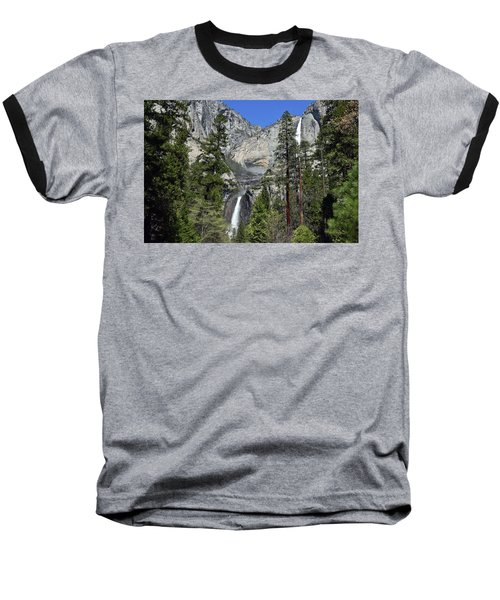 Upper And Lower Yosemite Falls Baseball T-Shirt