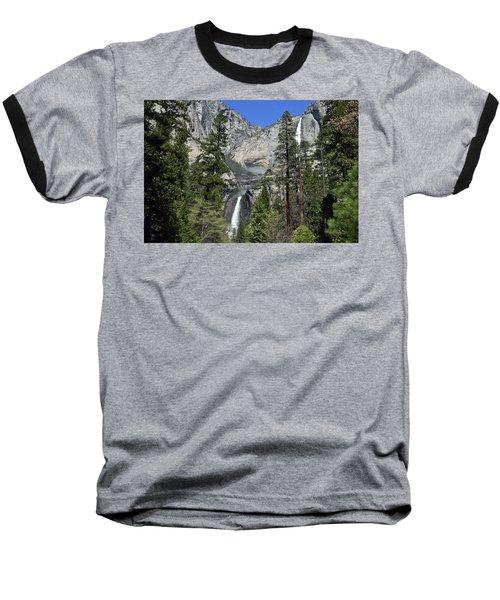 Upper And Lower Yosemite Falls Baseball T-Shirt