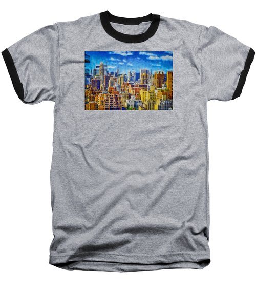 Upper Eastside Skyline Baseball T-Shirt by Kai Saarto