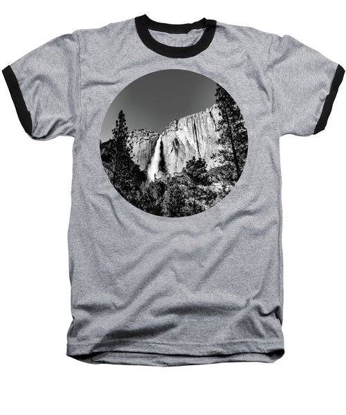 Upper Falls, Black And White Baseball T-Shirt