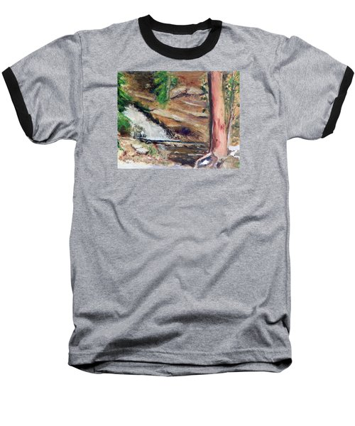 Baseball T-Shirt featuring the painting Upper Provo River Falls by Sherril Porter