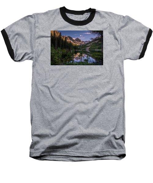 Upper Slate Lake Evening Glow Baseball T-Shirt by Michael J Bauer