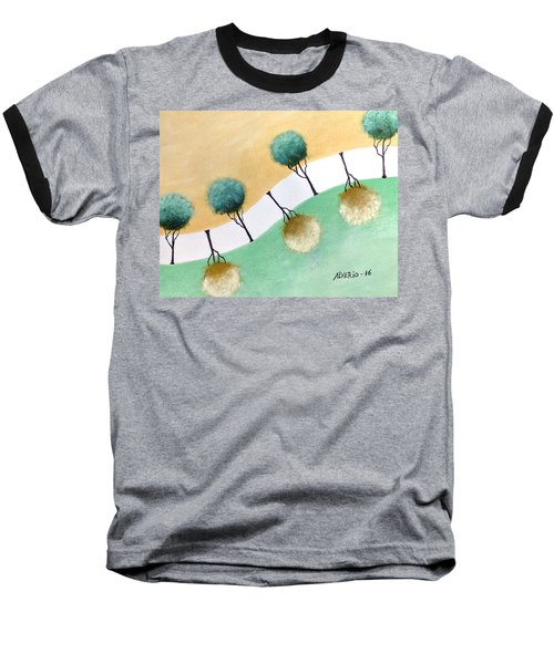 Baseball T-Shirt featuring the painting Upside Down by Edwin Alverio