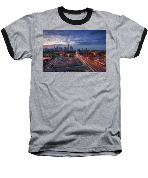 Uptown Charlotte Rush Hour Baseball T-Shirt by Serge Skiba