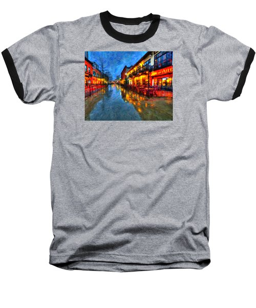 Urban Rain Reflections Baseball T-Shirt by Andre Faubert