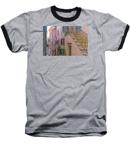 Urban View With Laundary Baseball T-Shirt by Uri Baruch