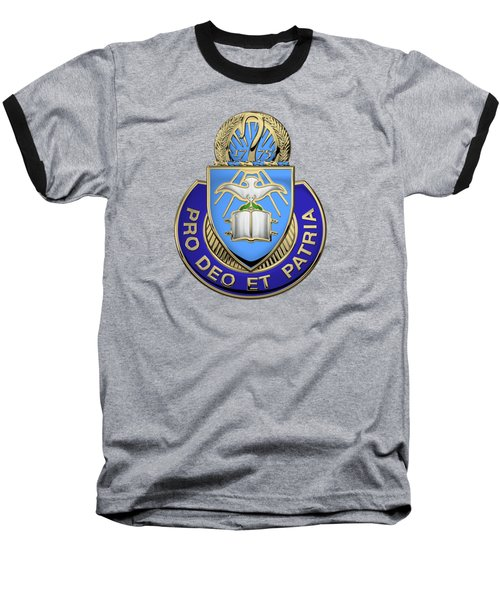 Baseball T-Shirt featuring the digital art U. S. Army Chaplain Corps - Regimental Insignia Over Blue Velvet by Serge Averbukh