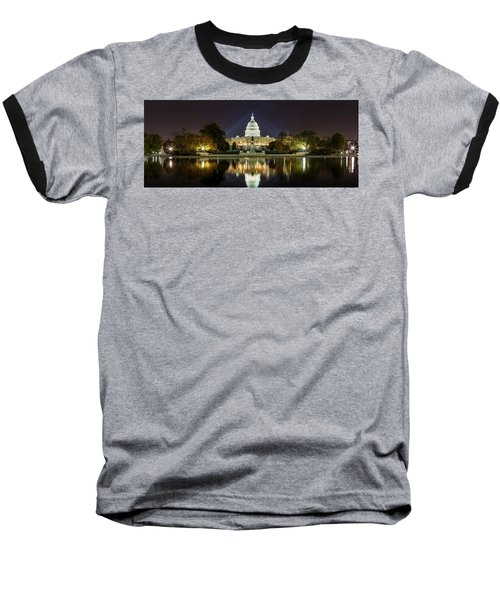 Us Capitol Night Panorama Baseball T-Shirt