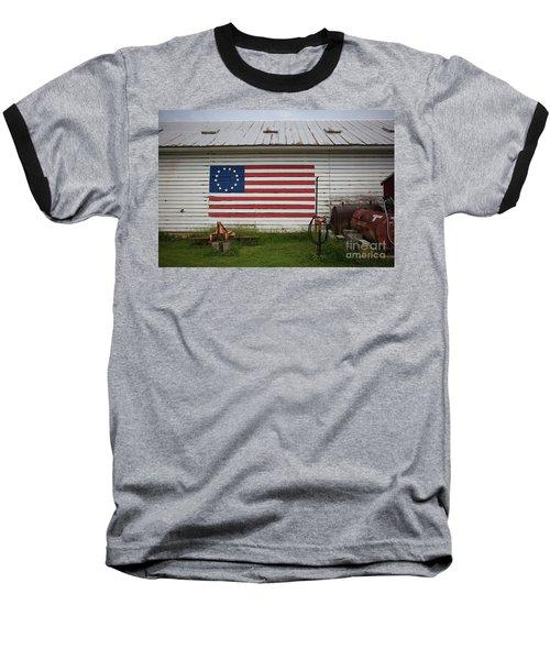 Us Flag Barn Baseball T-Shirt