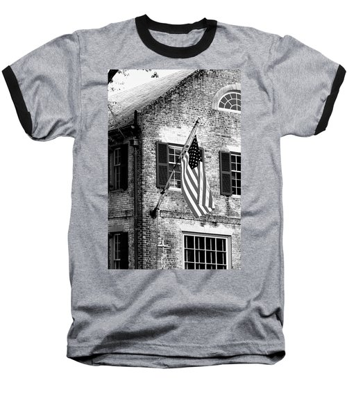 Baseball T-Shirt featuring the photograph Us Flag In Colonial Williamsbug by Emanuel Tanjala