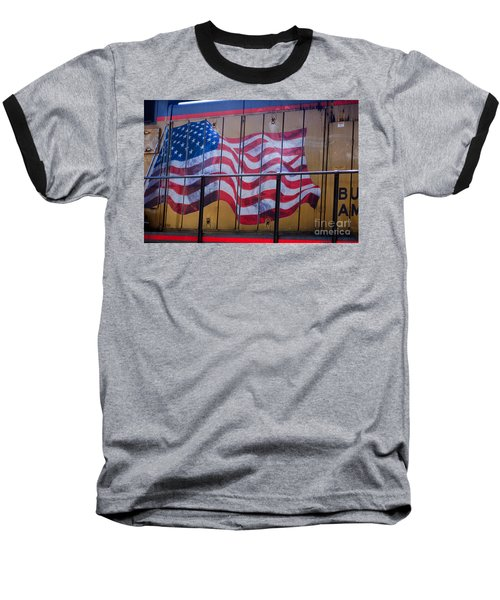 Us Flag On Side Of Freight Engine Baseball T-Shirt