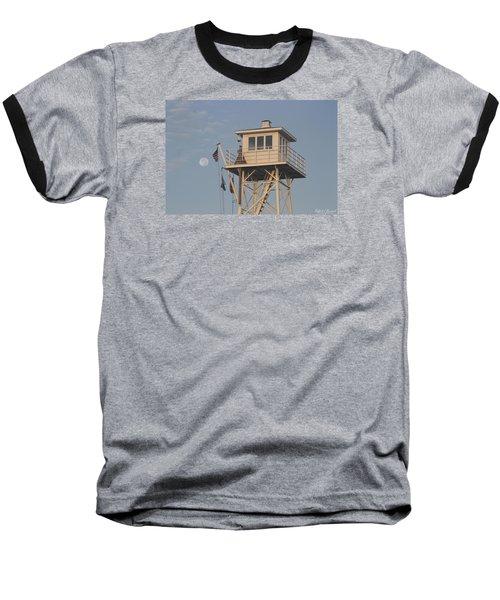 Baseball T-Shirt featuring the photograph Us Flag Waves At The Full Moon by Robert Banach