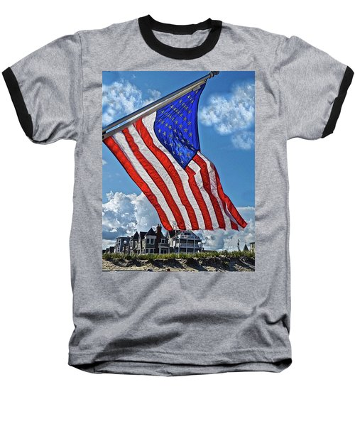 Us Flag,ocean Grove,nj Flag Baseball T-Shirt by Joan Reese
