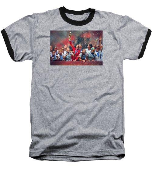 Us Women's Soccer Baseball T-Shirt by Semih Yurdabak