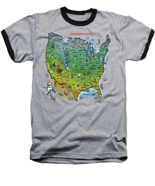 Baseball T-Shirt featuring the painting Usa Cartoon Map by Kevin Middleton
