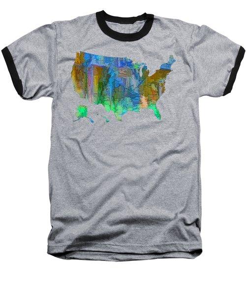 Usa - Colorful Map Baseball T-Shirt