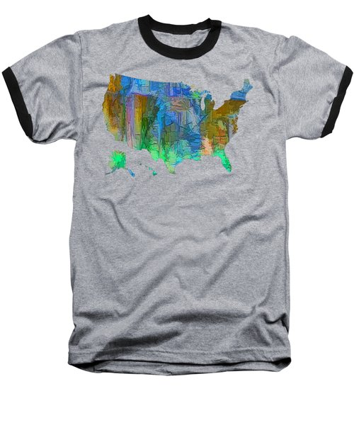 Usa - Colorful Map Baseball T-Shirt