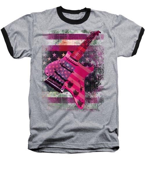 Baseball T-Shirt featuring the digital art Usa Pink Strat Guitar Music by Guitar Wacky