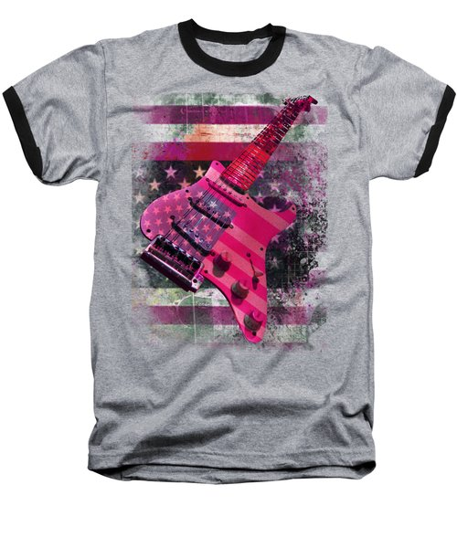 Usa Pink Strat Guitar Music Baseball T-Shirt