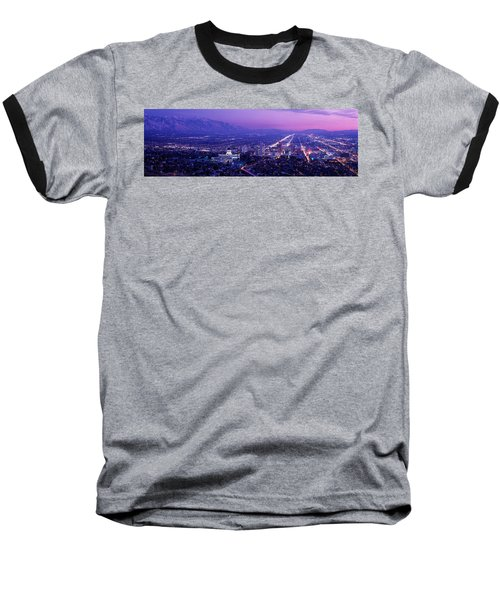 Usa, Utah, Salt Lake City, Aerial, Night Baseball T-Shirt