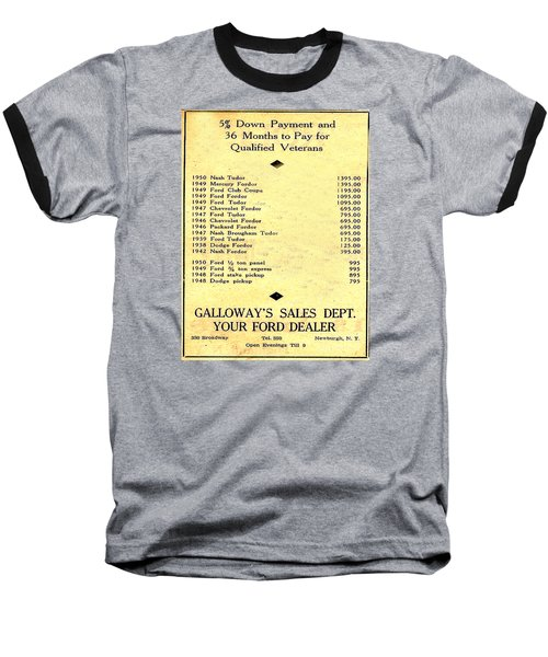 Used Car Prices In 1950 - Dealer's Advertisement Baseball T-Shirt by Merton Allen