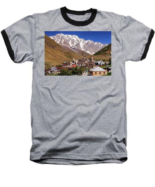 Ushguli And  Shkhara Mount Baseball T-Shirt by Sergey Simanovsky