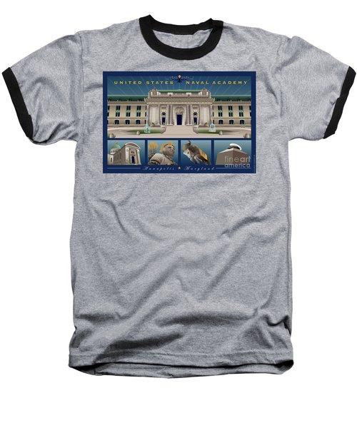 Usna Monuments Tribute 2 Baseball T-Shirt