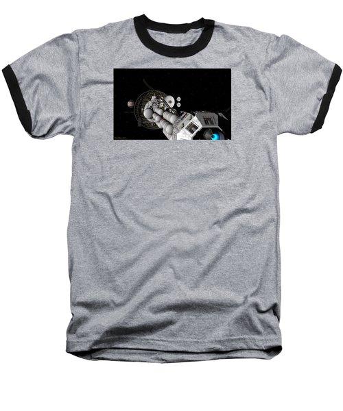 Baseball T-Shirt featuring the digital art Uss Savannah Nearing Jupiter by David Robinson