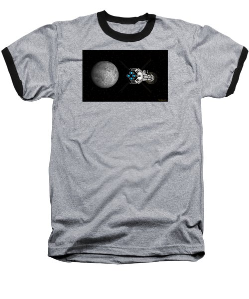 Uss Savannah Passing Earth's Moon Baseball T-Shirt