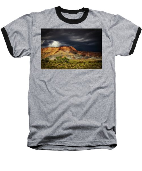 Utah Mountain With Storm Clouds Baseball T-Shirt
