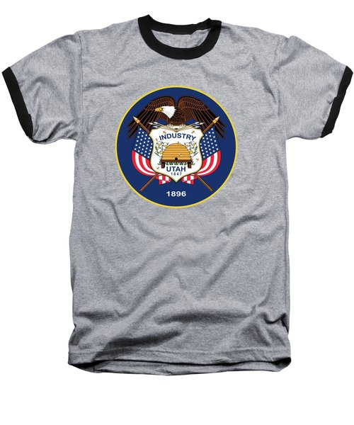 Utah State Flag Authentic Version Baseball T-Shirt by Bruce Stanfield