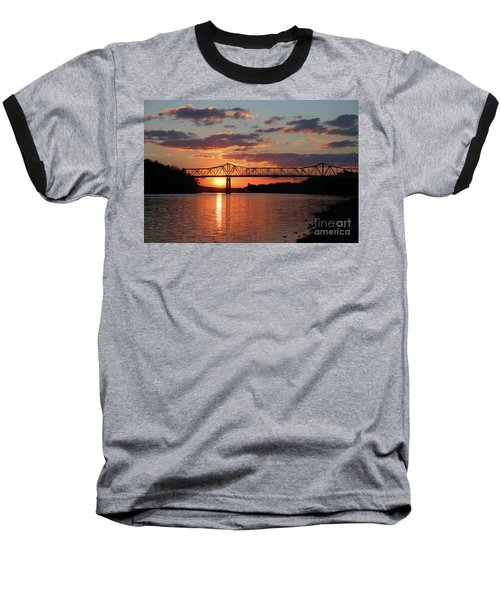 Utica Bridge Sunset Baseball T-Shirt