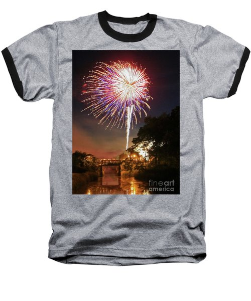 Baseball T-Shirt featuring the photograph Utica Fireworks by Paula Guttilla