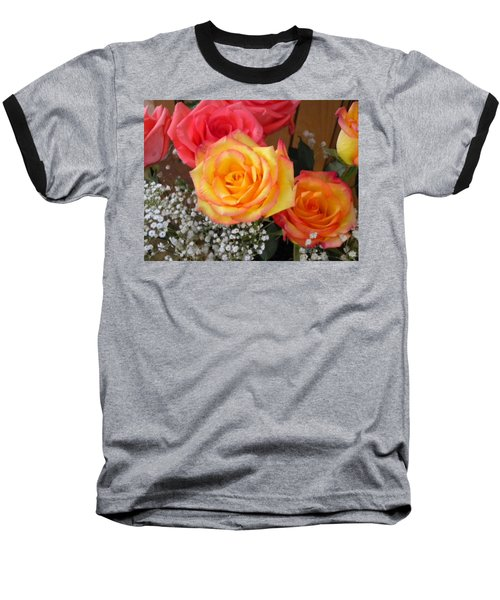 Baseball T-Shirt featuring the painting Valentine's Day Roses 2 by Renate Nadi Wesley