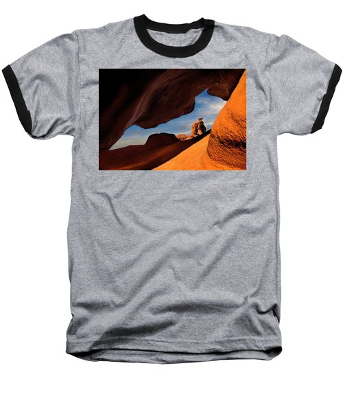 Valley Of Fire Look Through Baseball T-Shirt by Gary Warnimont