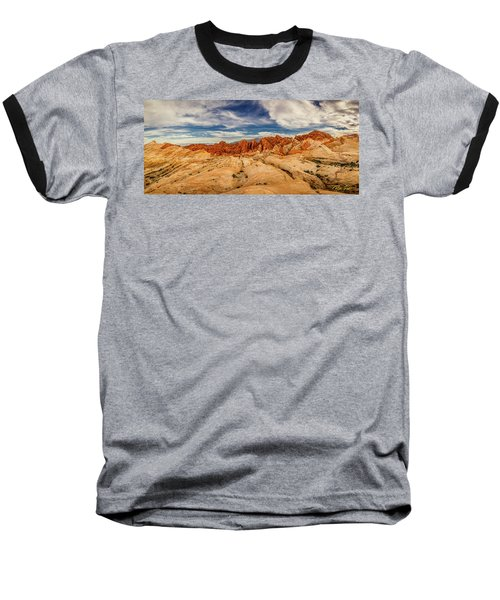 Baseball T-Shirt featuring the photograph Valley Of Fire Panorama by Rikk Flohr